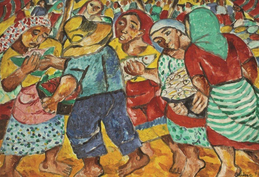 """Norma Belleza 1939 """"Market Scene"""" 1998 Oil on canvas"""