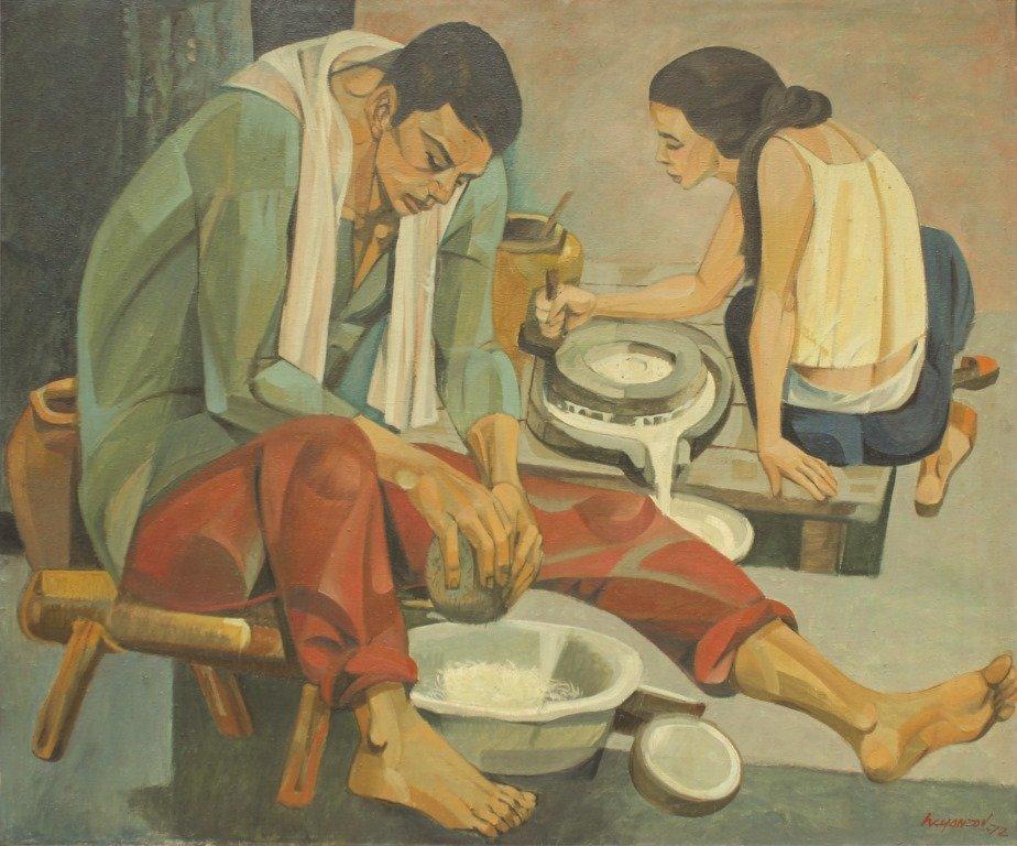 Hugo Yonzon 1924 - 1994 Ma Maglalatik Signed and dated