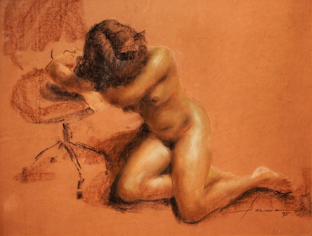 """Serafin Serna 1919-1979 """"Nude"""" 1975 Signed and dated"""