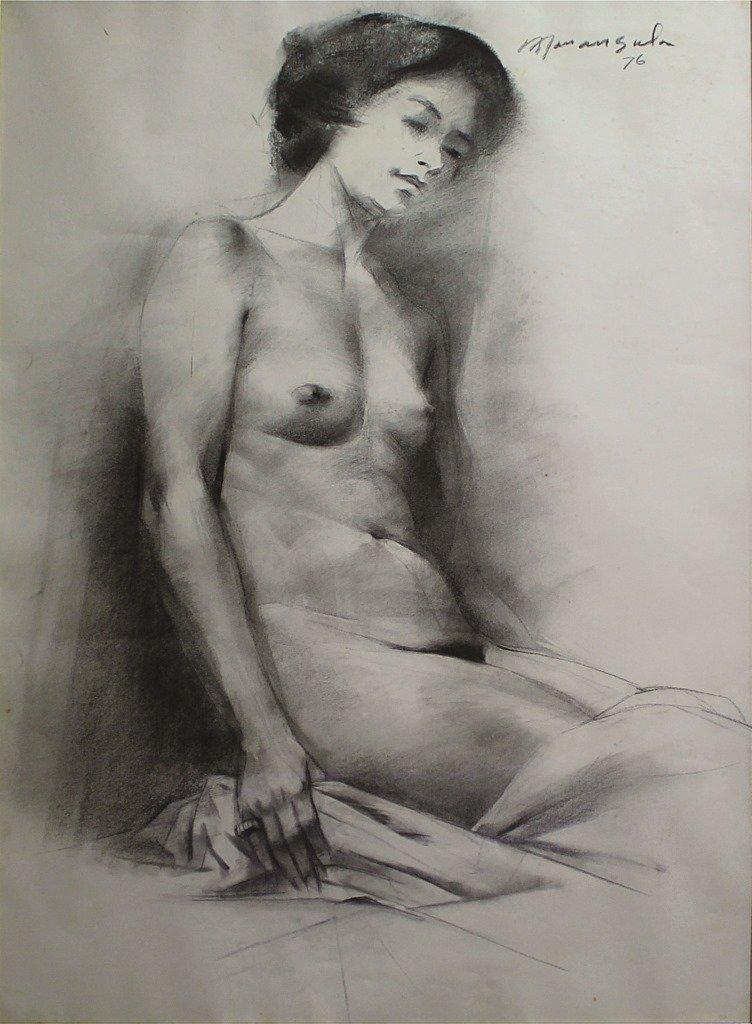 Vicente Manansala 1910 - 1981 Nude 1976 Charcoal on