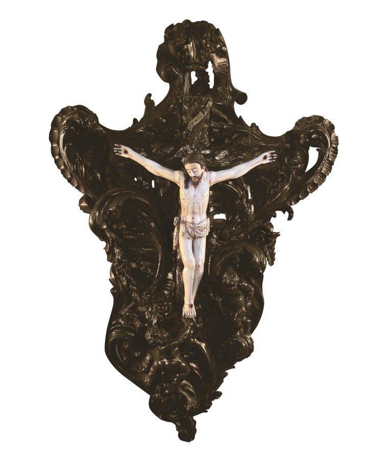 "Ivory Corpus 17th Century Ivory and wood 17½ "" x 17¼ """