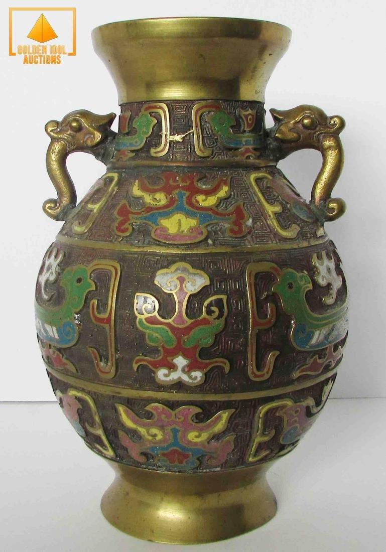 Japanese antique champleve brass vase