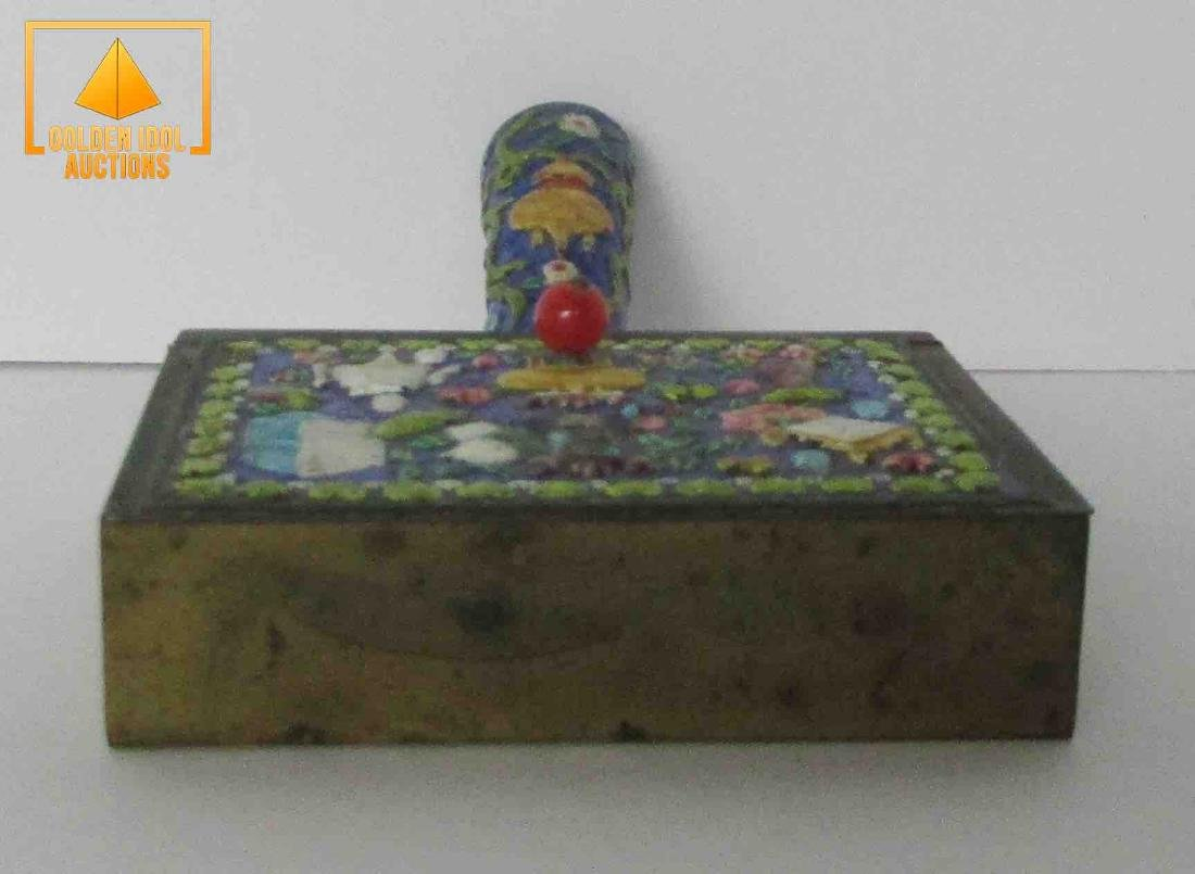 Old chinese brass, enamel and iron