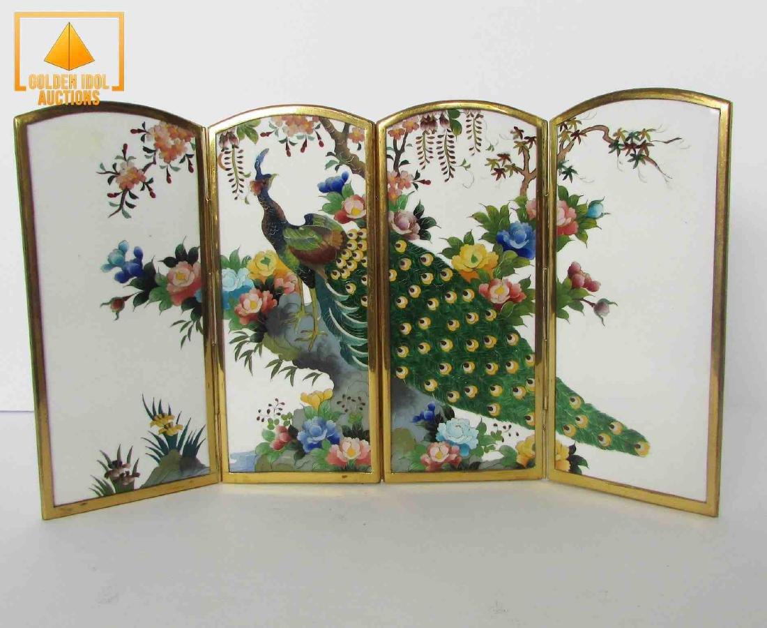 Old japanese cloisonne Four Pannels