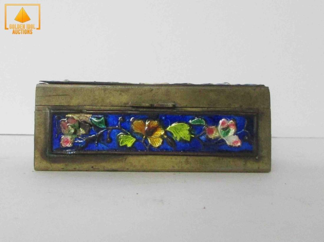 Antique chinese bronze enamel box