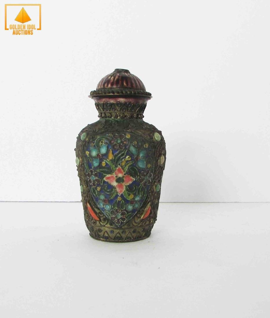 Antique chinese enamel and silver bottle