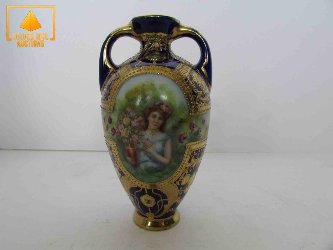Antique handpainted cobalt and gold portrait vase