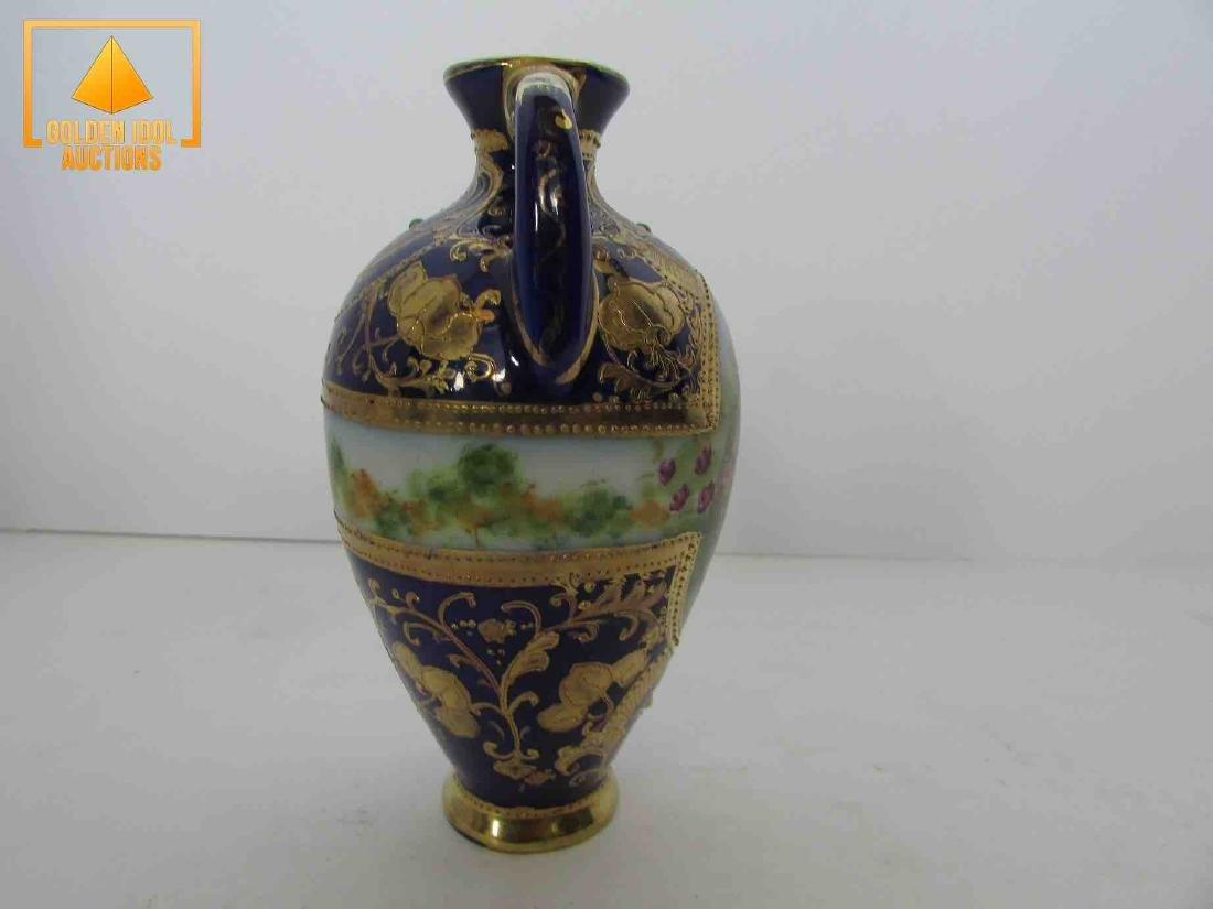 Antique handpainted cobalt and gold portrait vase - 2