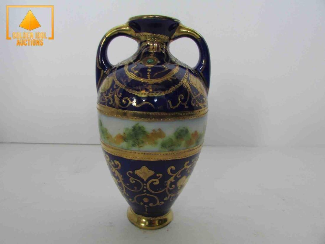 Antique handpainted cobalt and gold portrait vase - 3