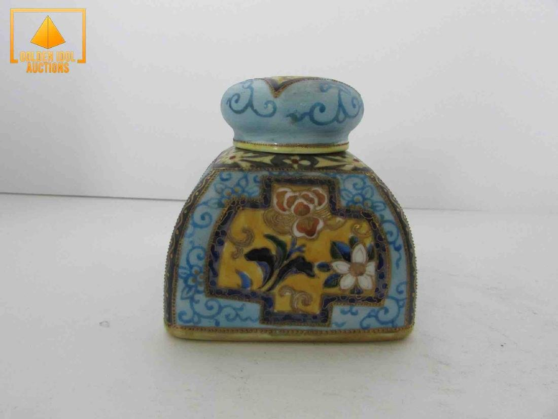 Antique handpainted nippon inkwell - 3