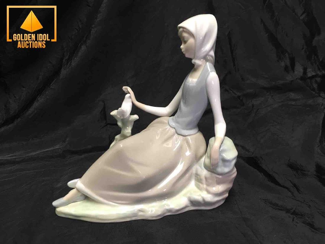Lladro Shepherdess with Dove Figurine Young Girl with