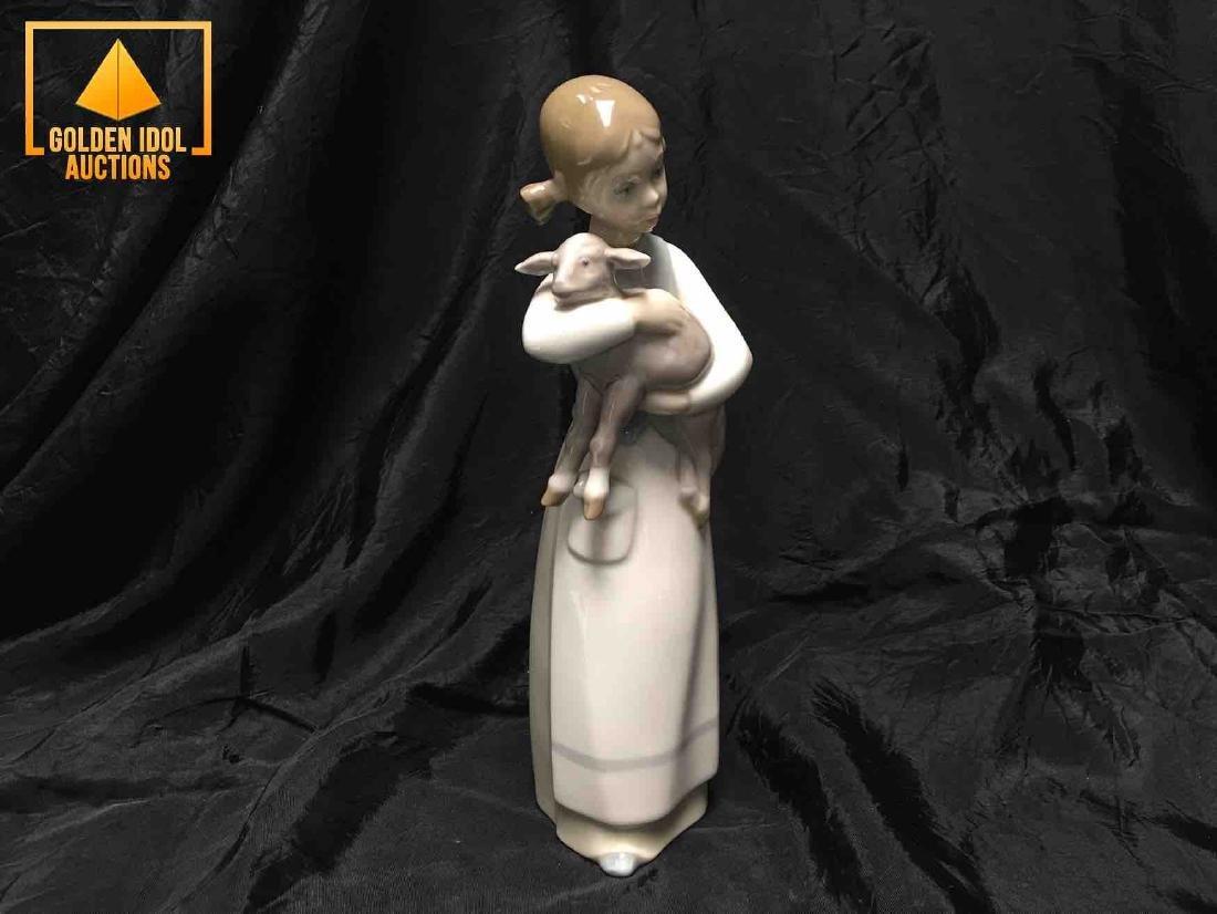 Lladro little china figurine embracing a lamb. - 3