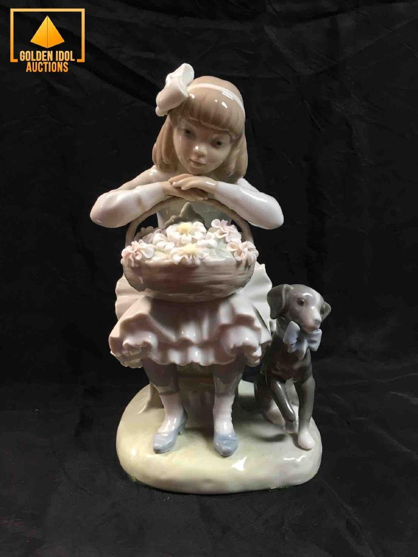 Lladro figurine - Girl with Flowers and Dog #1088G