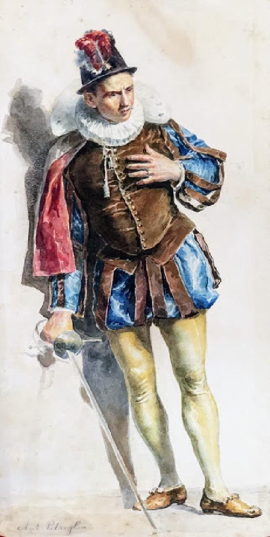 Antique 19 century  watercolor