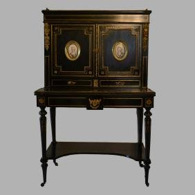 Napoleon Iii French Ebonized Gilt Bronze & Porcelain