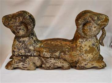 Antique Original Tang Dynasty Double Headed wood Ram
