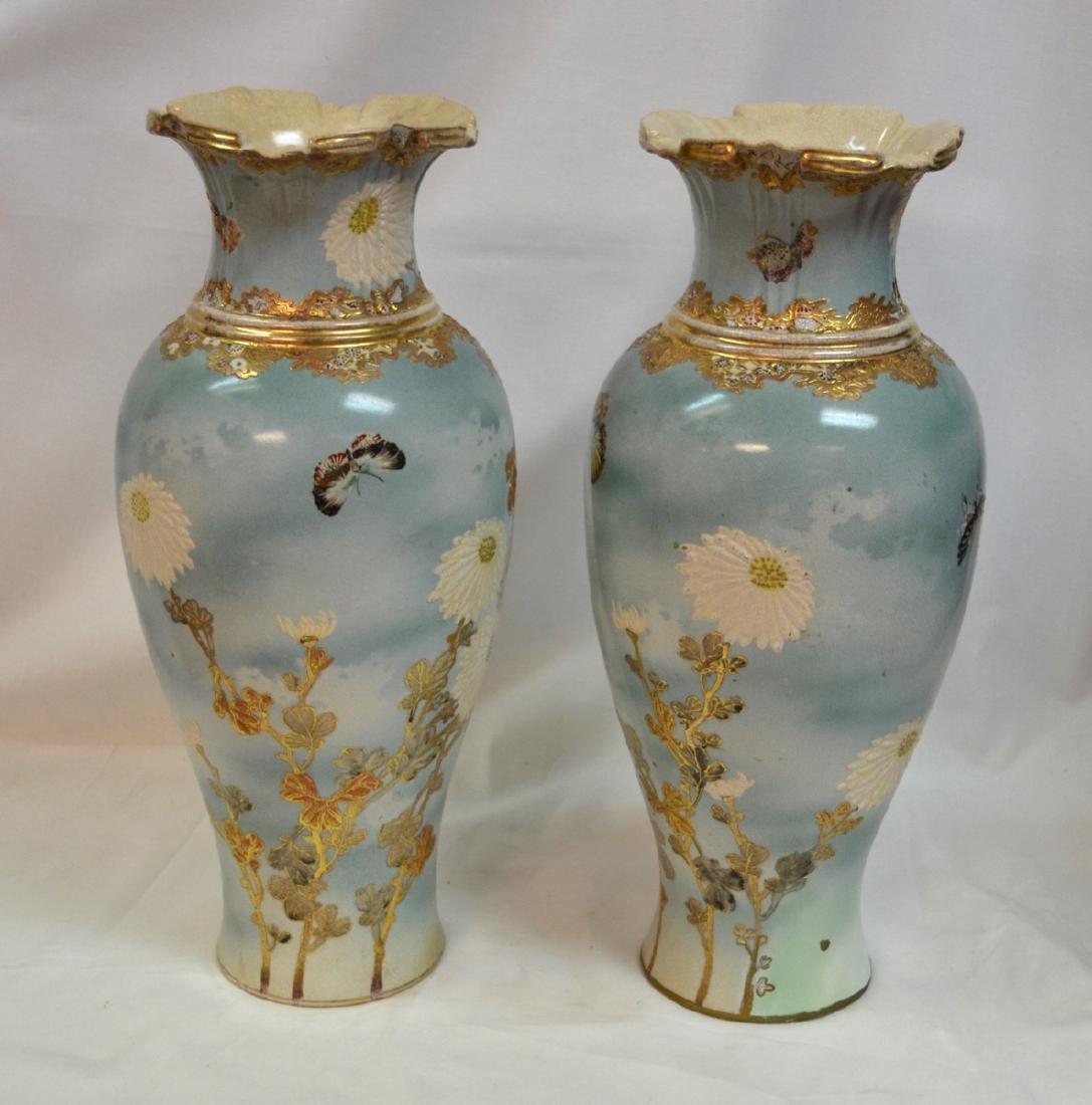 Spectacular Pair of Enameled Satsuma Vases by Kinzan I,