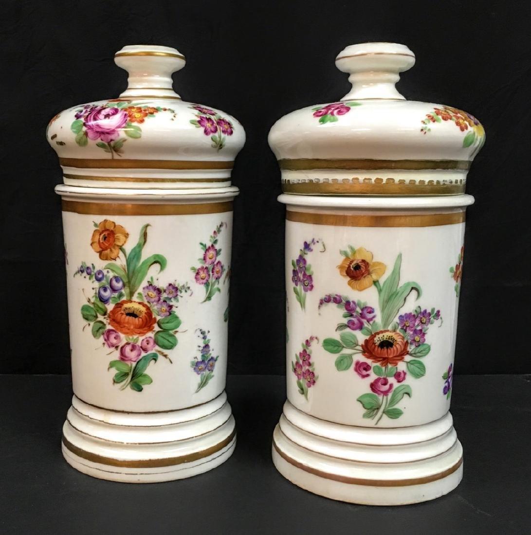 Antique set of 2  Old Paris Porcelain Apothecary Jars