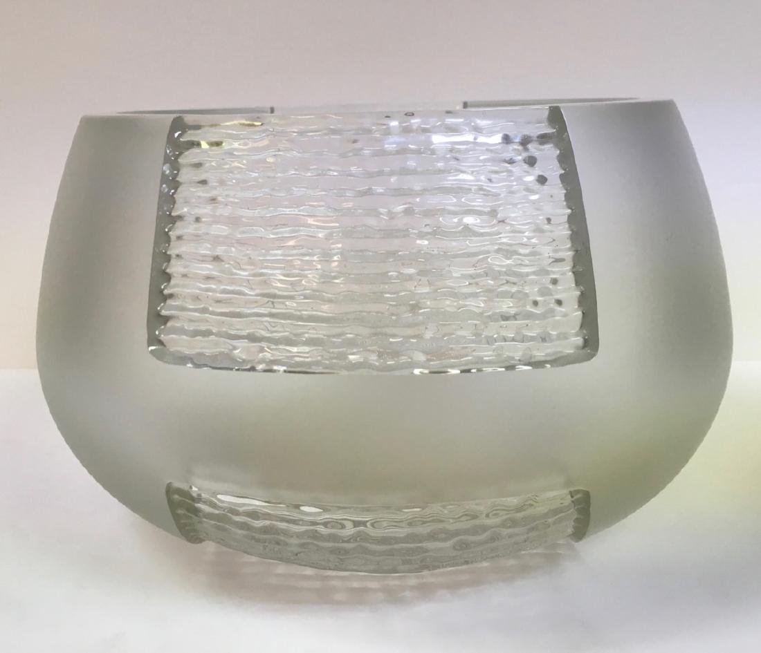 Mid century French Art Deco Clear Etched Glass Vase