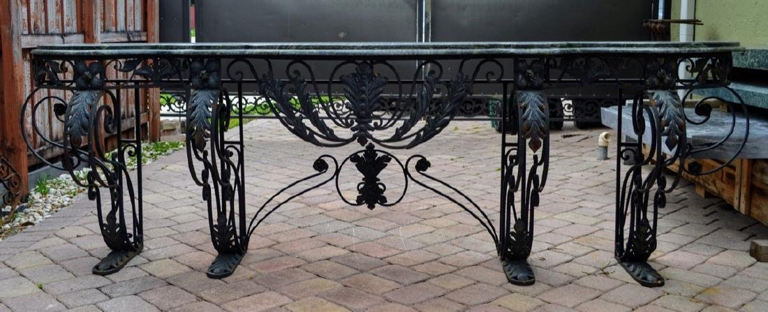Vintage very large French marble and iron console table