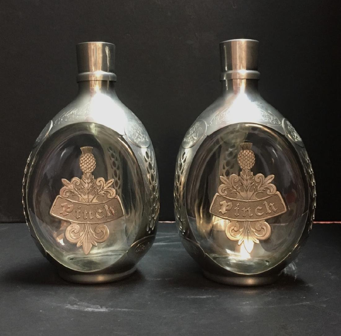 Pair ROYAL HOLLAND PEWTER EMPTY DIMPLE HAIG WHISKEY