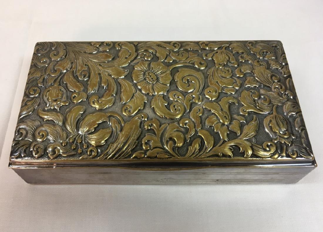 Antique Art Nouveau wood,metal, embossed Trinket box