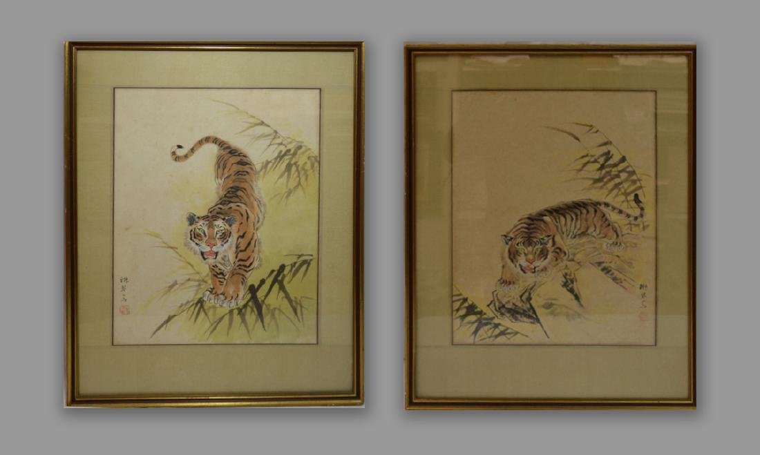 Oriental Original Watercolor tiger scene, signed,