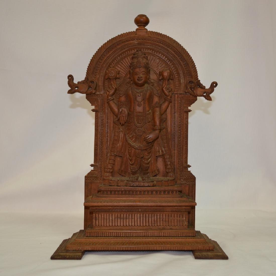 Antique hand carved wood Hindu shrine