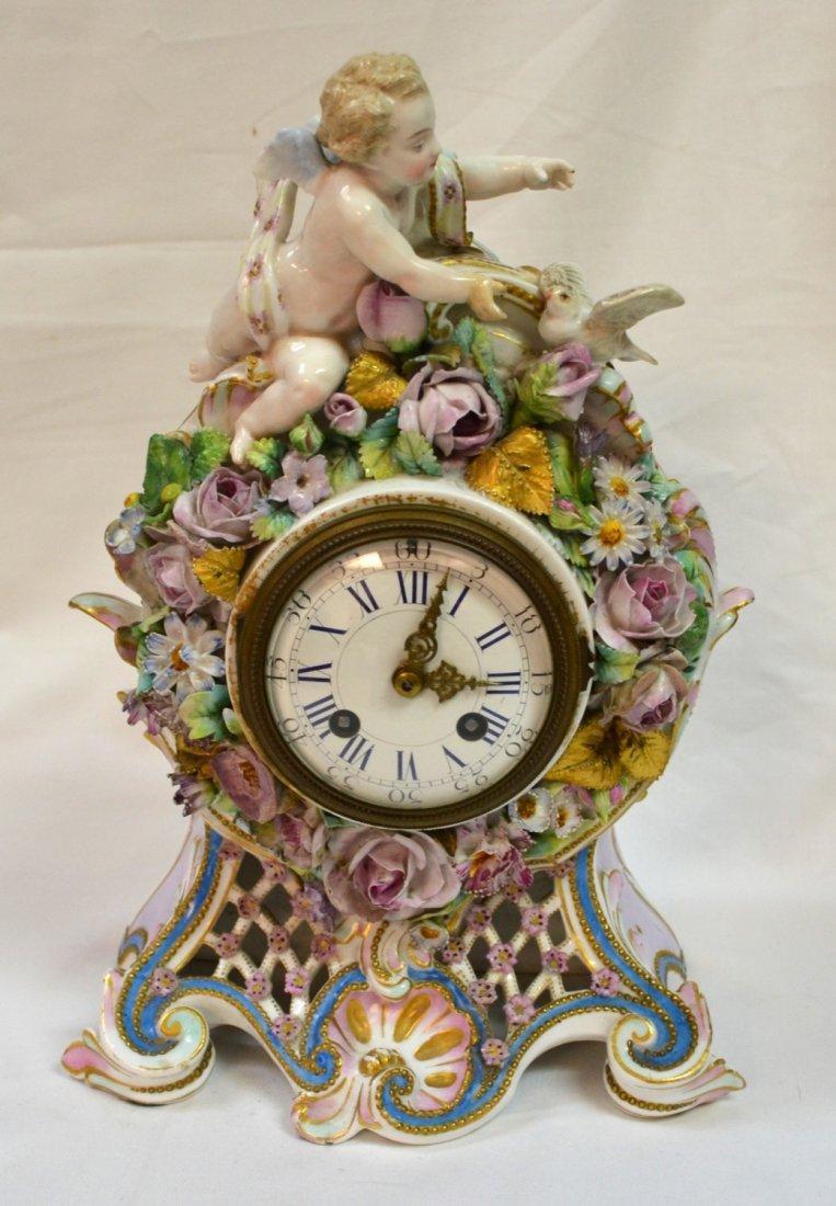 """Antique French VION & BAURY 13"""" Porcelain Mantel Clock"""