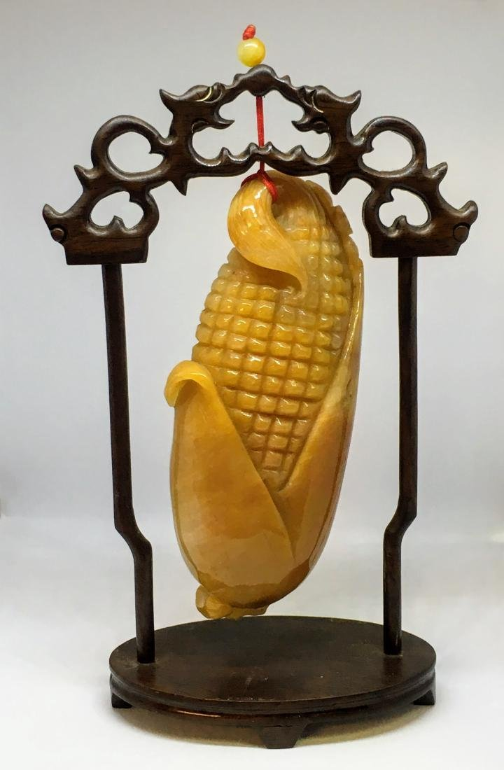 Vintage Chinese yellow jade corn figure - 2