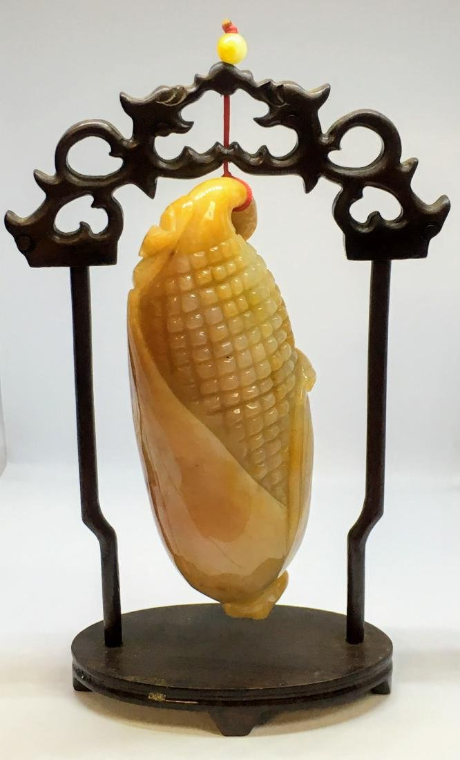 Vintage Chinese yellow jade corn figure - 3