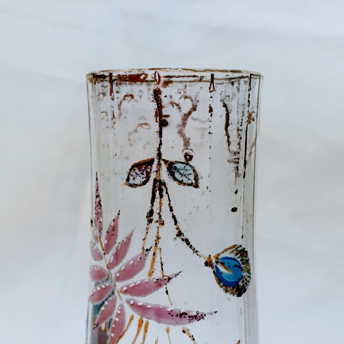 Large Enameled Moser ? Glass Vase - 2