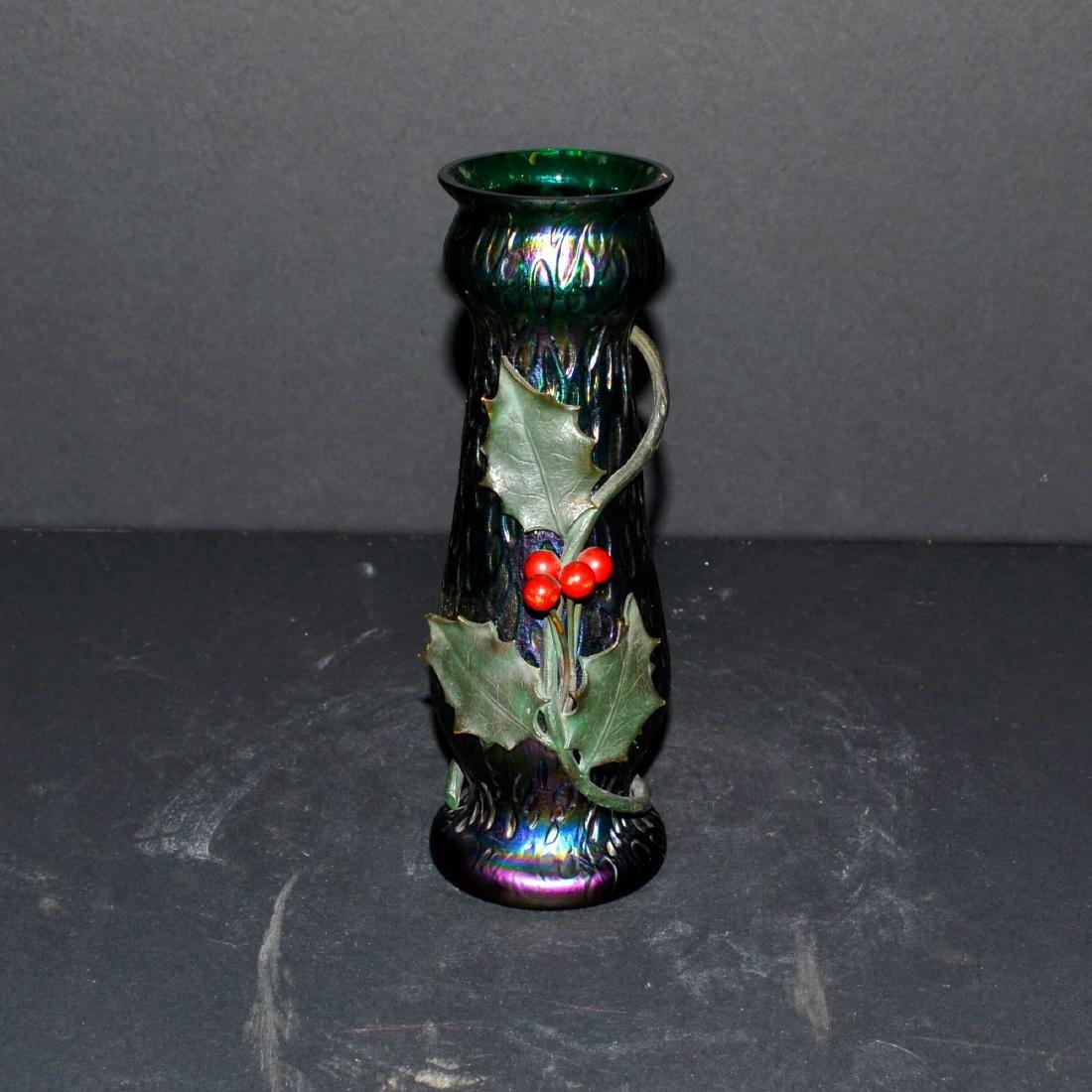 Antique Loetz polychrome Art Nouveau Holly Vase