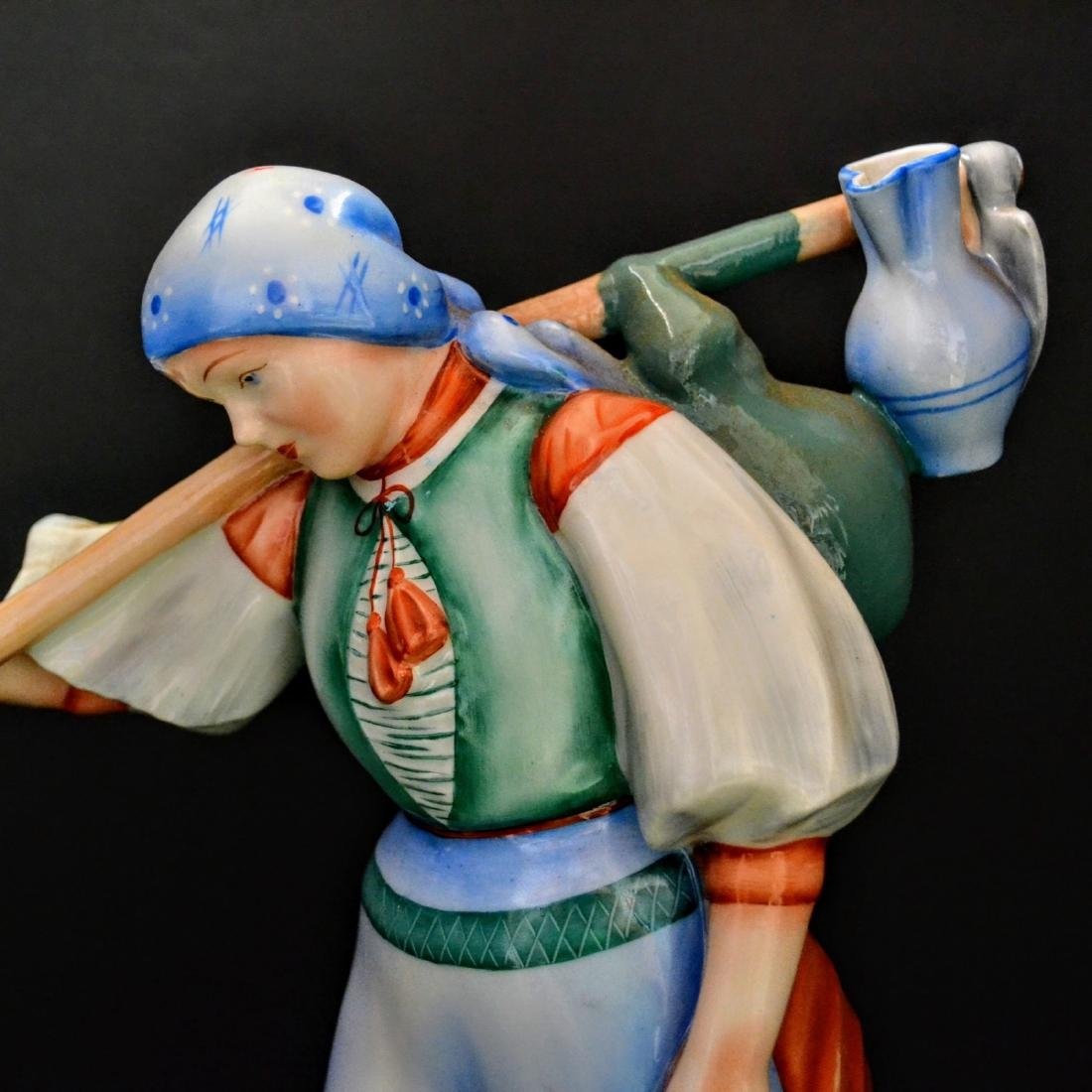 Zsolnay Porcelain - Hungary - Peasant Girl With Her Dog - 5