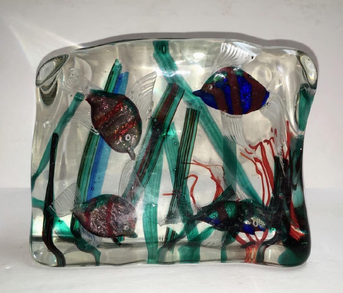Large Murano glass Aquarium block, ca 1950