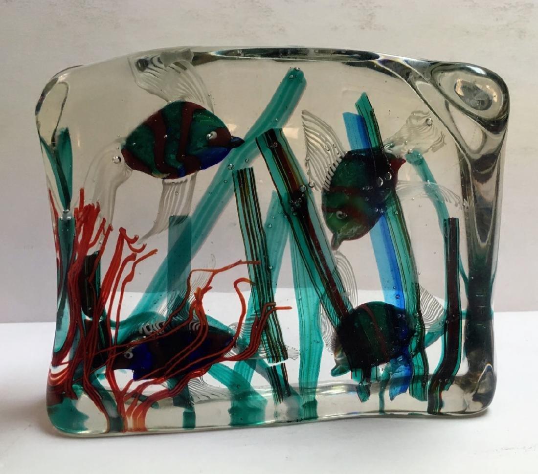 Large Murano glass Aquarium block, ca 1950 - 2