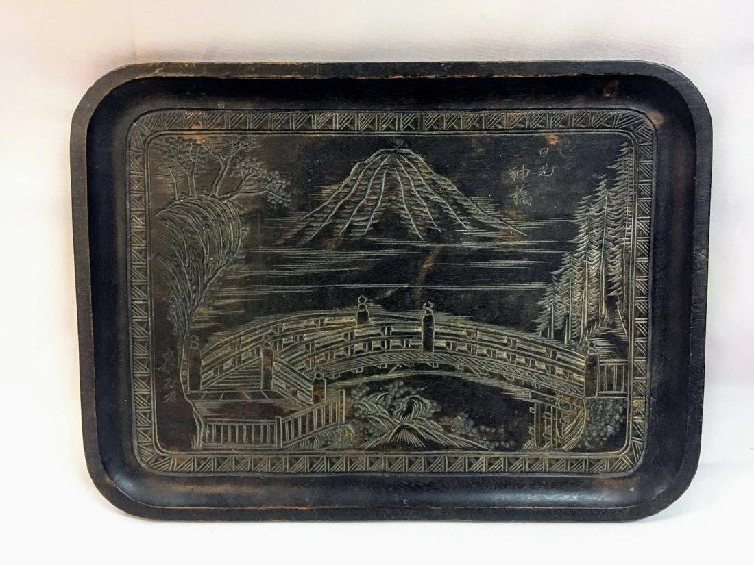 Antique japanese handcarved rosewood tray singed on