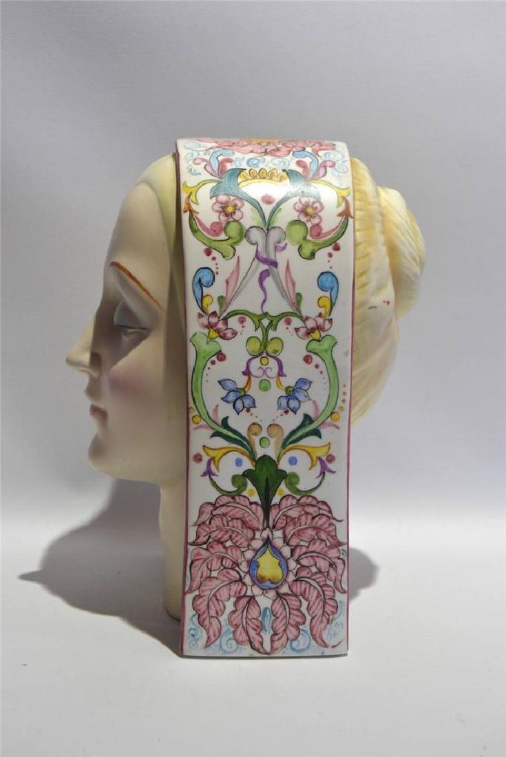 Art Deco Italian Porcelain Bust Circa 1920's, Artist - 4