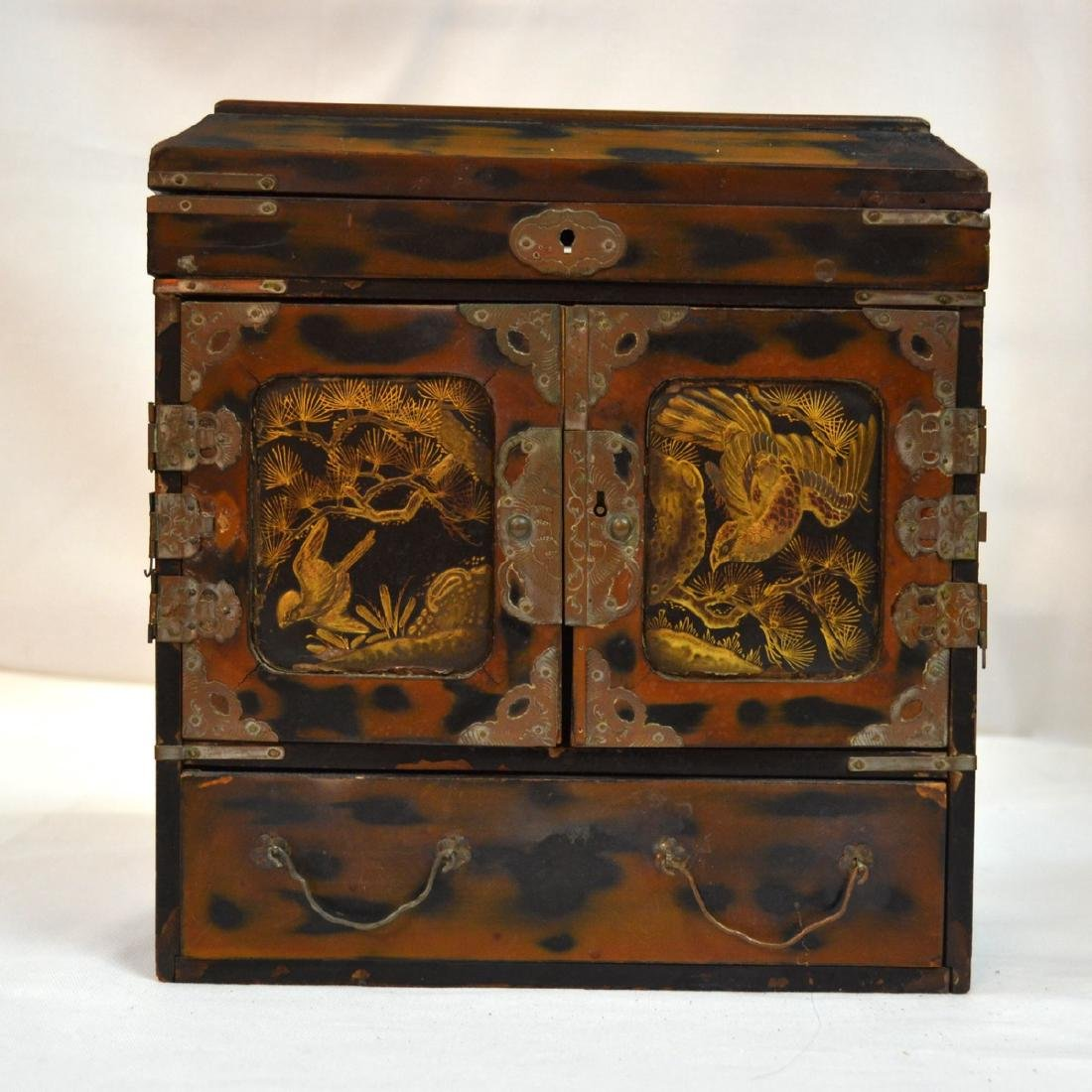 Antique Chinese, handpainted wooden Laquered, bronze,