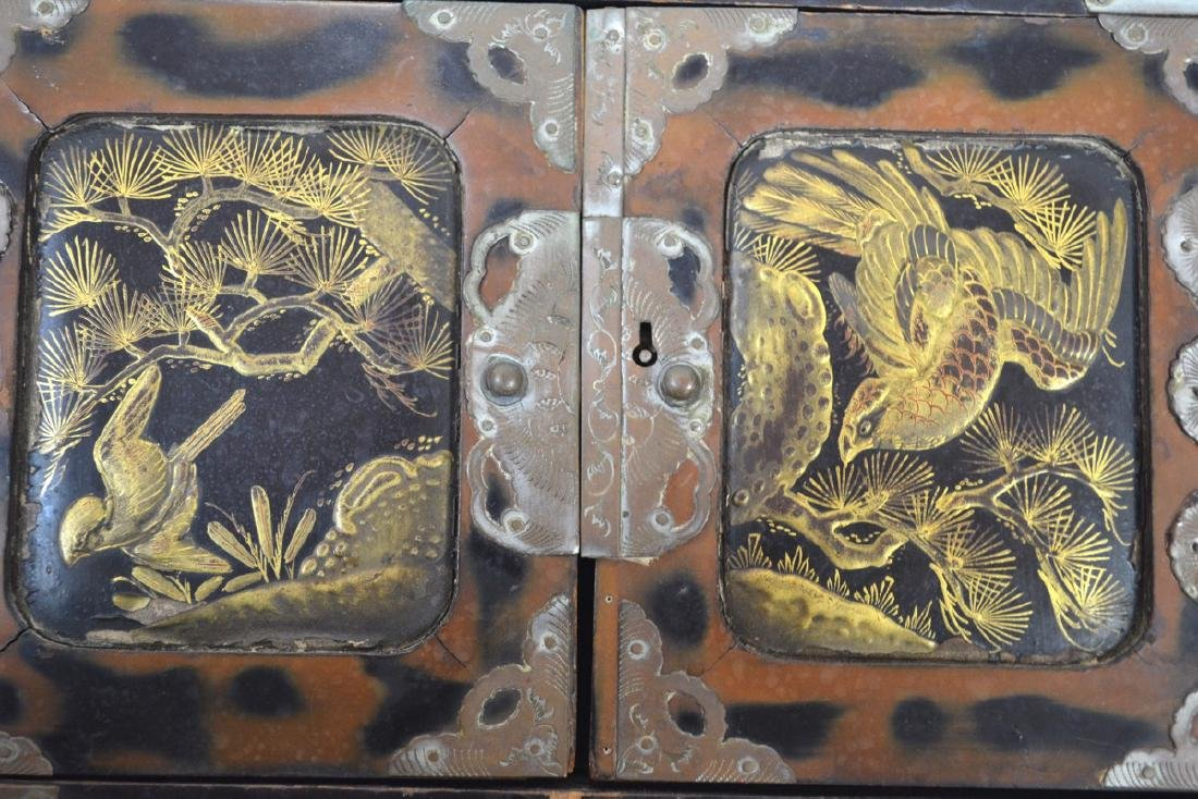 Antique Chinese, handpainted wooden Laquered, bronze, - 7