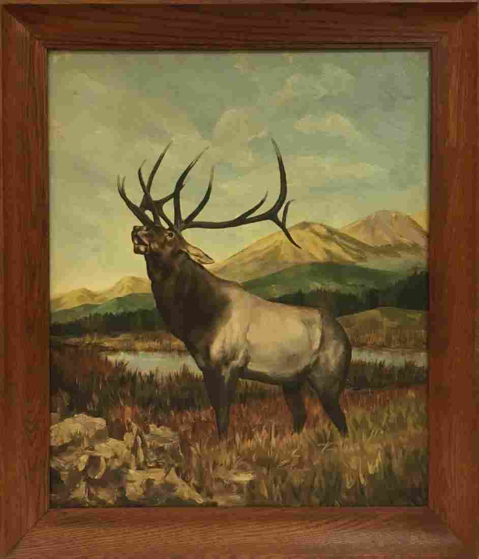 Vintage oil on wood deer painting, signed