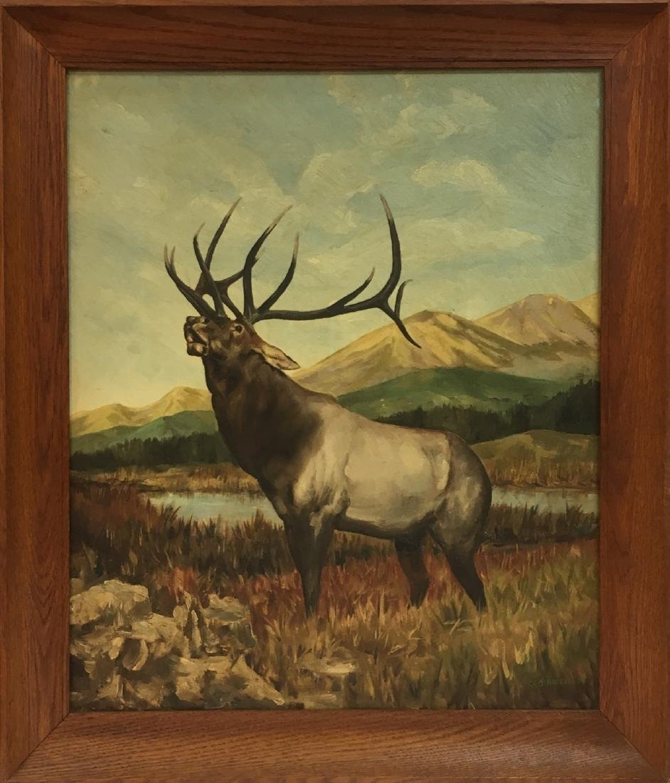 Vintage oil on wood deer painting, signed
