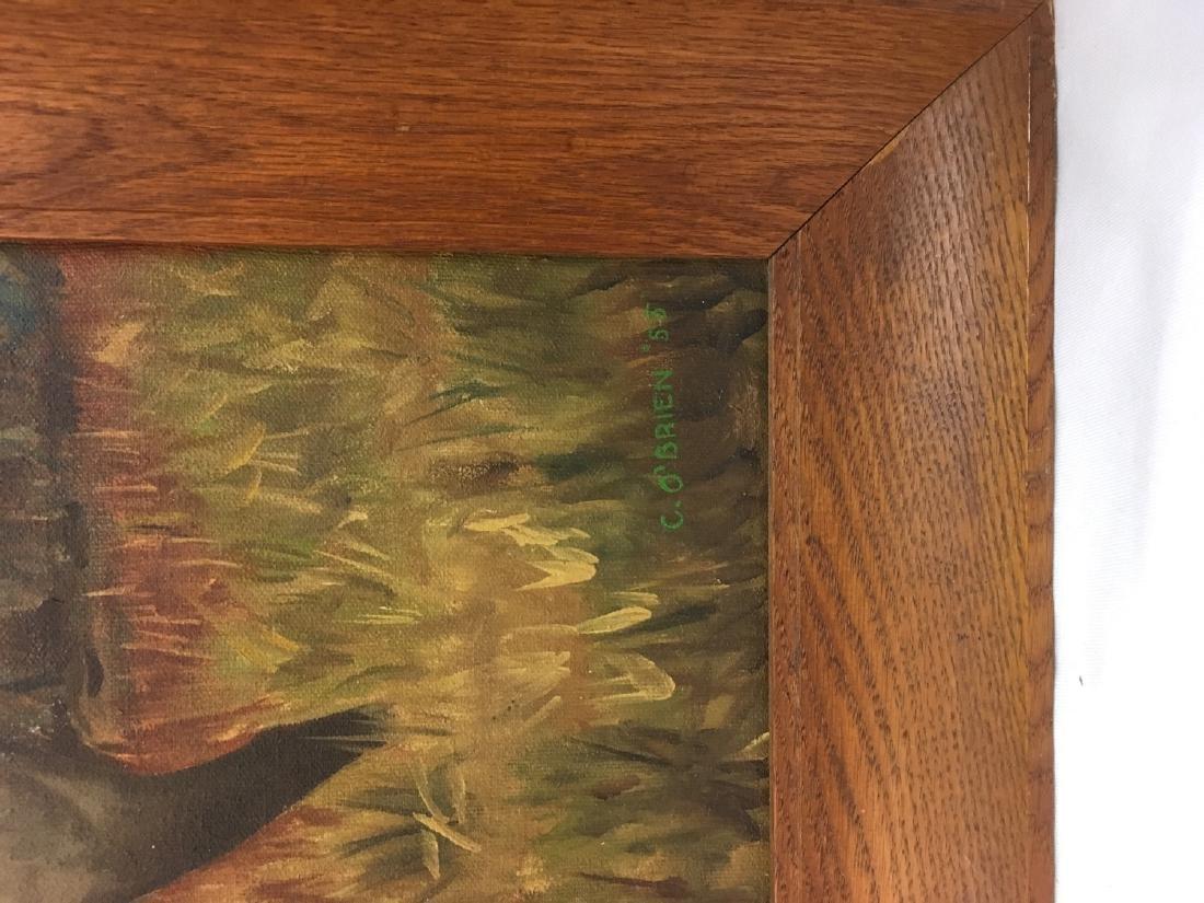 Vintage oil on wood deer painting, signed - 2