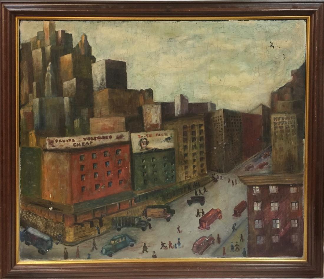 Vintage oil on canvas, urban view illegible signature