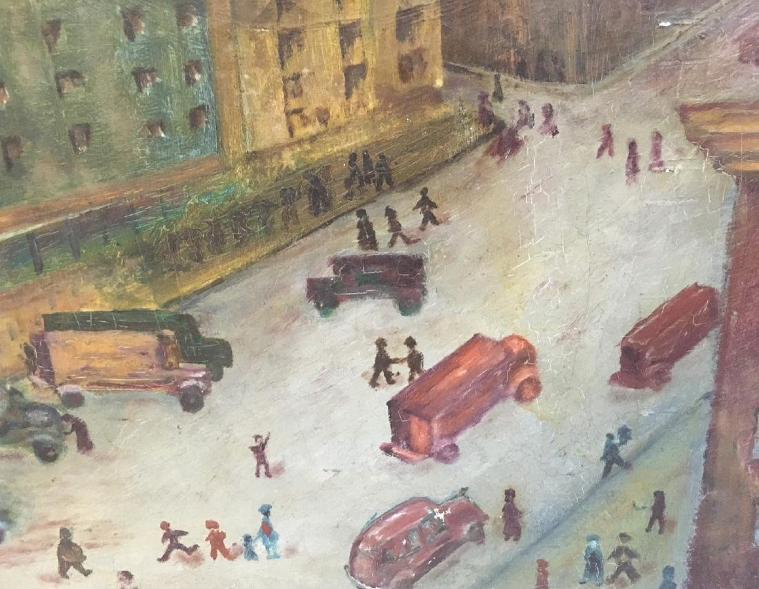 Vintage oil on canvas, urban view illegible signature - 3