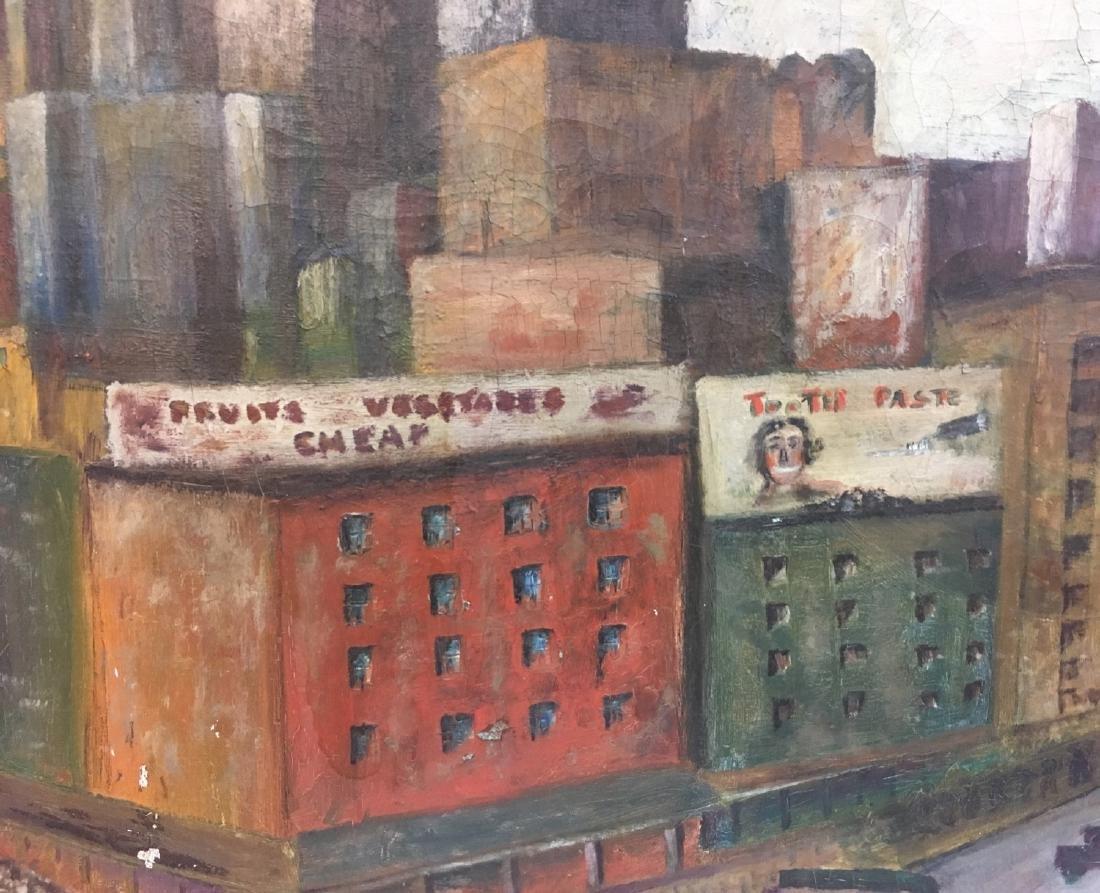 Vintage oil on canvas, urban view illegible signature - 4