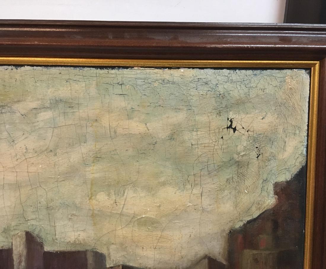 Vintage oil on canvas, urban view illegible signature - 5