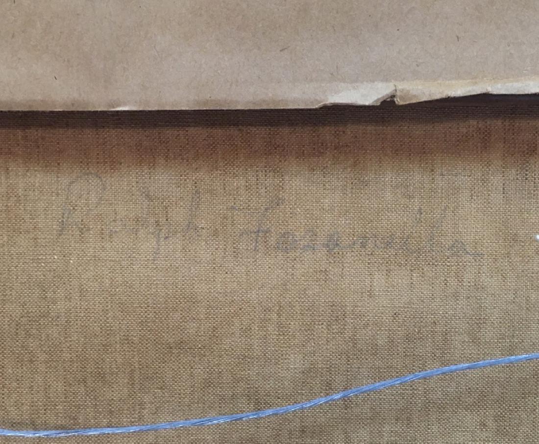 Vintage oil on canvas, urban view illegible signature - 6