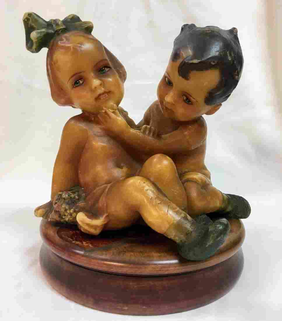 Antique early 20th Century German Wax boy and girl