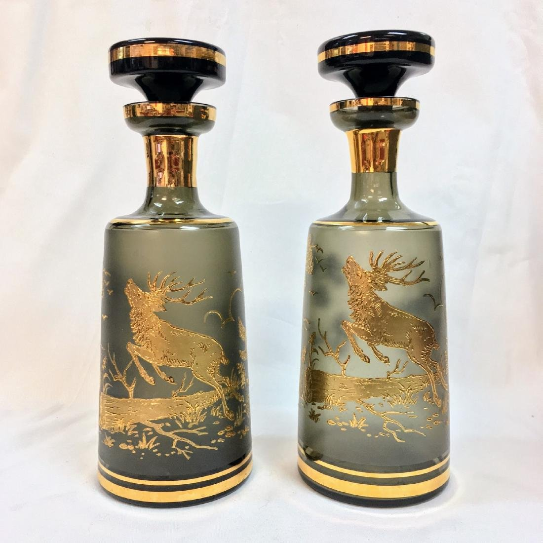 Set of 2 Bohemian crystal Decanters, Mid Century